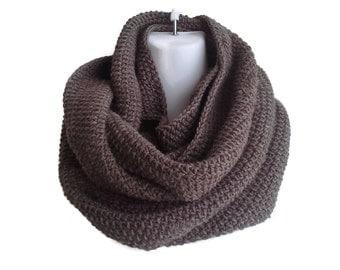 Walnut Brown Pure Wool Infinity Scarf Blanket Scarf SAMANTHA Ready to Ship