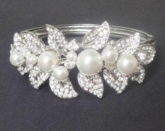 Bridal Bracelet, Leaves Bridal Bangle Cuff, Pearl Wedding Bracelet Cuff, Crystal Leaf Bracelet, Wedding Bracelet, Wedding Jewelry, Eden
