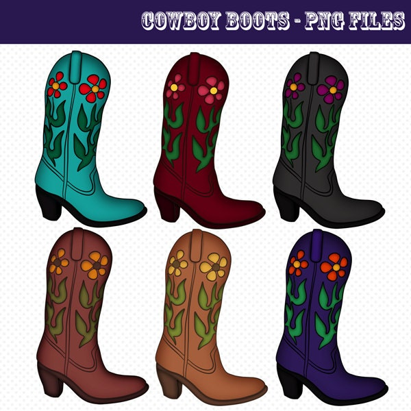 Cowboy Boots Clip Art Cowboy Boots Graphics by CheriesArtsnCrafts