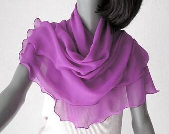 Pink Silk Shawl, Pink Chiffon Wrap, Magenta Wrap Scarf, Radiant Orchid, Sheer Silk Scarf, Fuchsia Silk Wrap, Fandango Pink Scarf, S M Medium