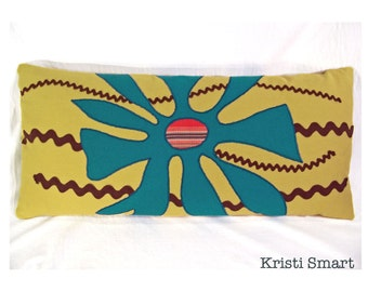 appliqued pillow mid century modern pillow