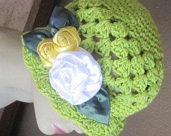 Handmade Kiwi Green Natural Cotton Cloche 1920s Flapper Hat White Yellow Roses