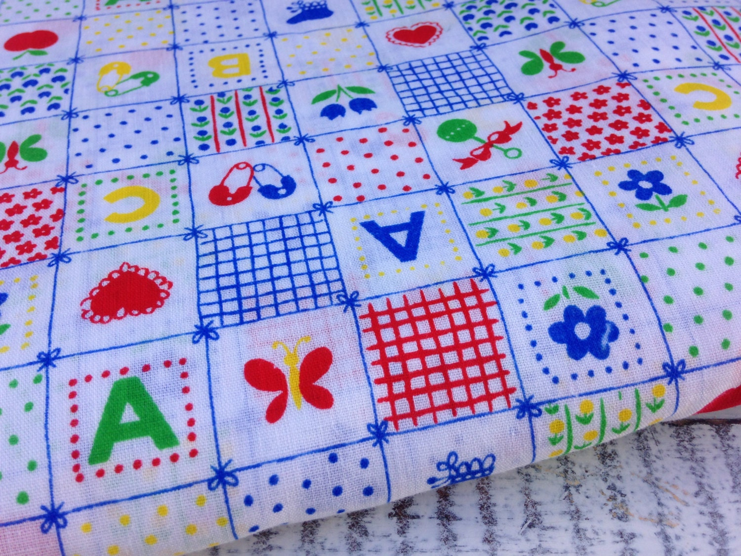 Vintage nursery fabric primary colors baby shower by for Baby themed fabric