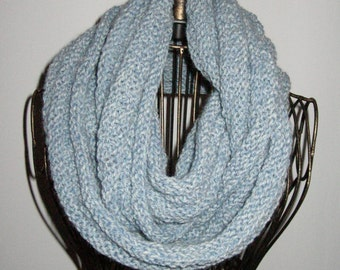 Light Blue Infinity Cowl Scarf Wool and Acrylic washable