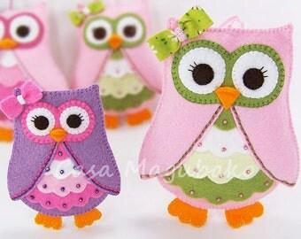 PDF Pattern - Owl Ornament Felt Pattern, Owl Embellishment Sewing Pattern, Softie Pattern, Hand Sewing Pattern, 2 Sizes, Instant Download