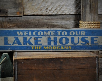Custom Welcome To Lake House Sign - Rustic Hand Made Vintage Wooden ENS1001090