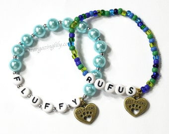 Pet Best Friend bracelet. Paw Print Charm bracelet. Memorial gift for loss of a pet. Dog Cat. Fluffy 4 legged friend.
