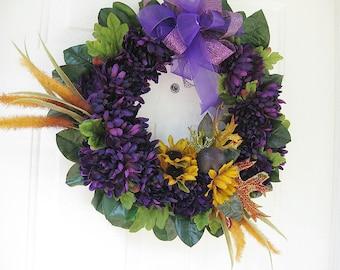 Purple Dahlia Wreath, Door Wreath, Fall Wreath, Home Decor, Wall Decoration, Front Door Wreath,  Year Round Wreath