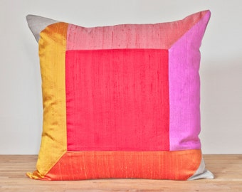 """Cube Throw Pillow in Warm - 20"""" Color Block Pillow - Optical Illusion LAST ONE!"""