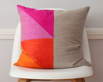 Pink and Orange Colorblock Silk and Linen Pillow - 18 Inches LAST ONE!