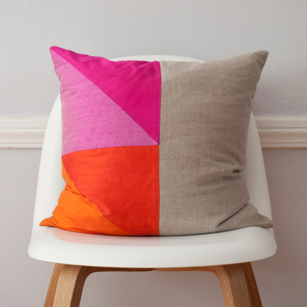 Pink And Orange Colorblock Silk And Linen Pillow 18 Inches