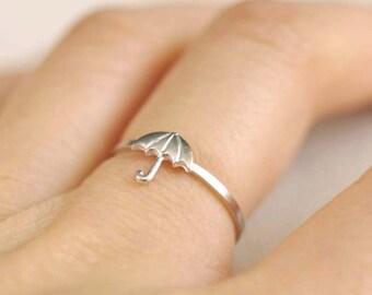 tiny umbrella ring . umbrella stacking ring . parasol ring . stackable umbrella ring . umbrella jewelry . rain jewelry // 4UMBR