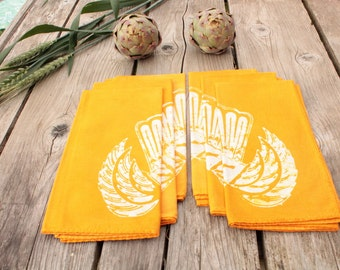 wings and crown saffron yellow batik napkins