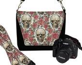 SET Dslr Camera Bag and Dslr Camera Strap, Camera Bag Slr and Camera Neck Strap, skulls roses goth steampunk MTO