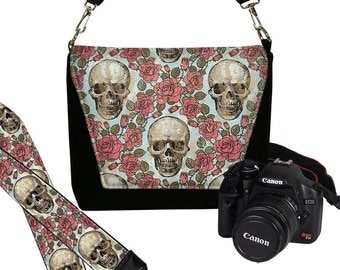 SET Dslr Camera Bag and Dslr Camera Strap, Camera Bag Slr and Camera Neck Strap, skulls roses goth steampunk MTO