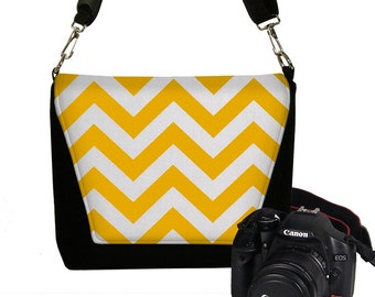 CLEARANCE Padded Water Resistant Chevron Camera Bag DSLR Camera Bag Slr Camera Bag Purse Pockets Woman's Camera Handbag Yellow RTS