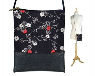 CLEARANCE Cross body purse, small shoulder bag, sling bag, Large Cell Phone Holder fits iPhone 6 Plus, cherry blossom red black white RTS