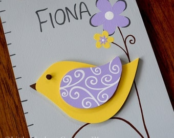 Fiona Birds Wooden Growth Chart in Slate Gray, handpainted, FREE nail cover and personalization