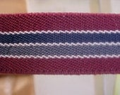ELASTIC 1 inch Heavy Burgundy Blue Gray White Striped Belting Strap Belt Suspender