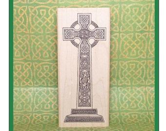 Large Celtic Cross Rubber Stamp Glendalough High Cross in Ireland #230