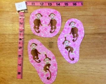Set of 3 cotton flannel fabric appliqués - monkeys on pink