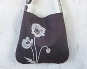 Gray Tote Handbag - Shoulder Messenger Bag for Women - Poppy Screen Printed Hemp Bag - Crossbody Bag - Fabric Tote