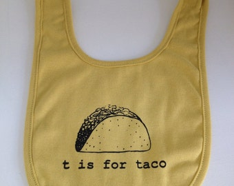 T is for Taco baby bib -dijon yellow