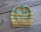 Self-Striping Soft Merino Wool Hand-Knitted Baby Hat (three months to six months) OOAK