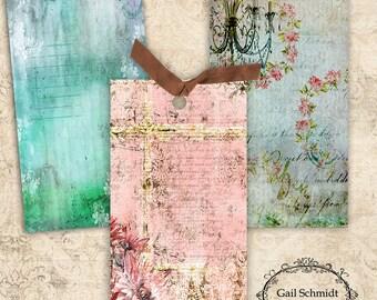 Tag Potpourri Backgrounds INSTANT DOWNLOAD DIGITAL U Print Tags TAg ARt Scrapbooking Journaling Paper Crafts