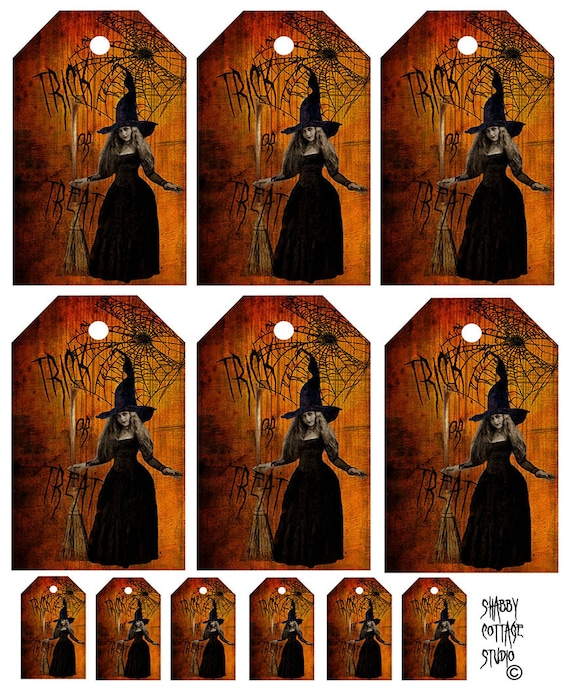Instant Download Halloween Collage Sheet Tags - Trick or Treat Witch