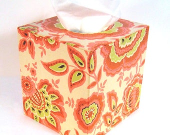 1960's Vintage Hippie Chic Orange, Pink, Green on Cream Floral Paisley Wallpaper Covered Tissue Box Cover