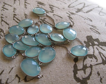minty - super long gemstone bezel set chalcedony necklace