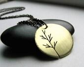 Harvest Moon Sapling red brass tree art pendant- made to order