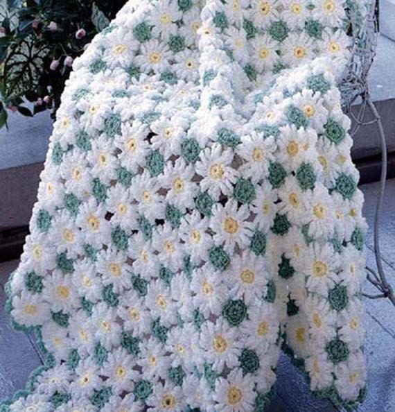 Crochet Daisy Baby Blanket Pattern : Baby Daisy Delight Hand Made Crocheted Afghan BRAND NEW