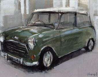 Art Print Car Mini British Green - Green Mini Cooper by David Lloyd