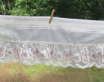 Vintage Dusty Mauve Pink Butterflies  on Creamy White Lace Curtain Valance, 25 - 1/2 W x 12 Inches Long