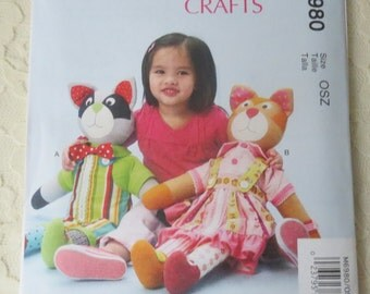 McCall's M6980 Crafts Sewing Pattern Learn To Dress Raccoon & Cat Stuffed Animal Dolls