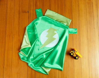 Kid Cape by Little Hero Capes - Grass Green and Lime - Lightening Bolt Design