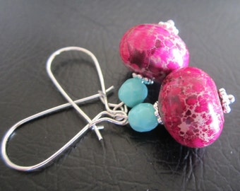 Pink Jasper Earrings,  Drop Earrings,  Kidney Wires,
