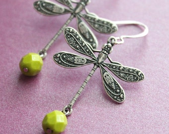 Silver Dragonfly Earrings - Olive Green Beads