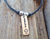 Hand Stamped Baptism Necklace for boys (or girls)