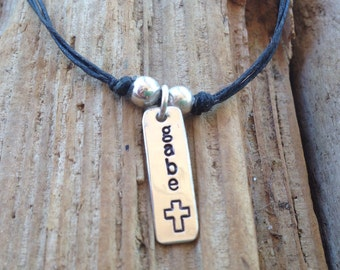 Hand Stamped Baptism Necklace for boys (or girls)