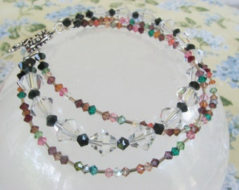 Plus Size Swarovski and silver bracelet