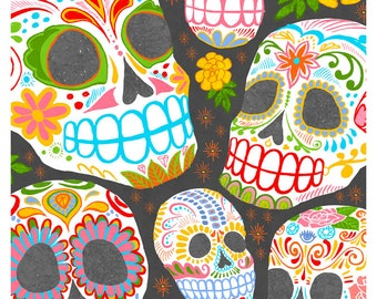 Calaveras Day of the Dead art - 9x12 print - Dia de los Muertos