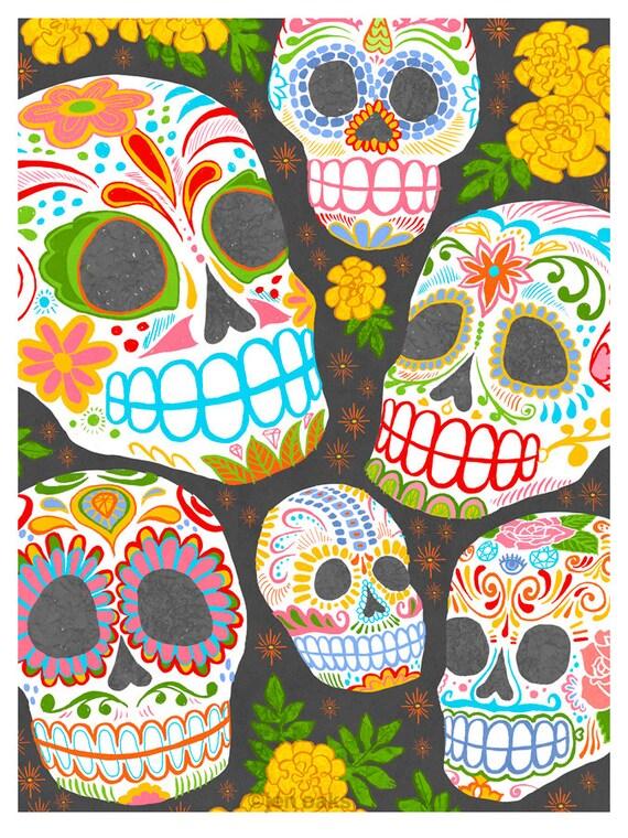 Calaveras Day of the Dead art - 9x12 print - Dia de los Muertos