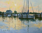 Moored Reflections - Oil Painting of Sailboats at Sunrise - Sailboat Painting - Oxford Marina Painting- Living Room Art