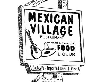 Mexican Village, Detroit Giclee Print 8x10