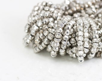 Silver Pyrite Beads, Pyrite Faceted Bead, Rondelle Gemstone Strand, Full 13 inch Strand  - 3.5mm, Coated Silver Gemstone Beads- Item 184