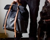 Waxed Canvas Backpack- Leather Roll Top -Black Leather Weekender Backpack; THE BLACK HOTSHOT Weekender by Awl Snap