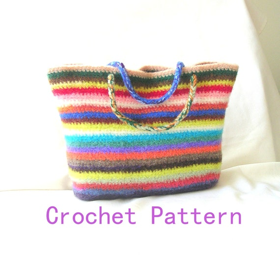 Crochet Felted Tote Bag Pattern : How to Make Crochet Bag Pattern Tutorial by ...